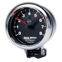 Performance  8000RPM Street Tachometer Cylinder for 4/6/8 Chrome