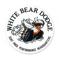 "Hot Rod Sticker ""White Bear Dodge Window"""