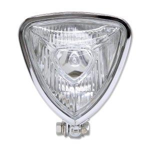 Photo1: Chrome Triangle Motorcycle Headlight (Flat Back)