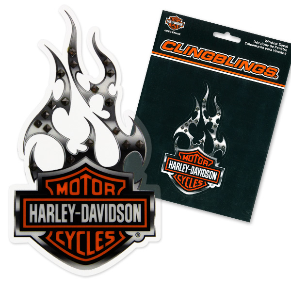 HARLEY - DAVIDSON w/Flames Cling Bling Decal (Sticker)