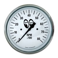 MOON Equipped 3 3/8inch 6000RPM Tachometer   (White)