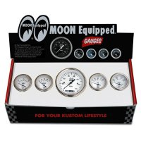 MOON Equipped 5 Gauge Set  (White Face)