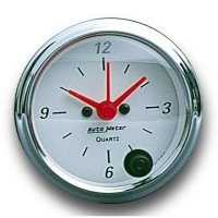 Arctic White / Red  Pointer Quartz clock