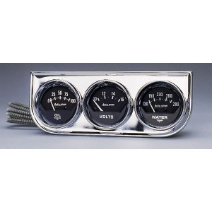 Photo1: Auto Gauge 2 1/16inch Chrome 3 Gauge Console  (Mechanical)