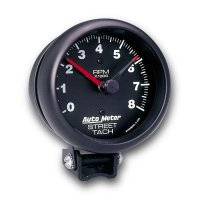 Performance  8000RPM Street Tachometer Cylinder for 4/6/8 Black