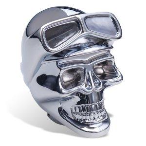 Photo1: Chrome Shift Knob Skull with Goggles