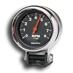 Photo1: Performance  8000RPM Black Mini Tachometer Cylinder for 4/6/8