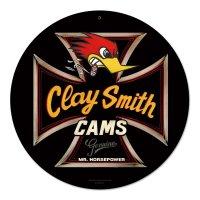 Clay Smith Genuine Black Round Metal Sign