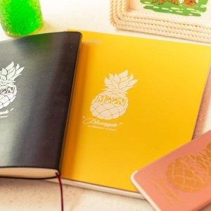 Photo1: Pineapple Sticker White (Script Style)