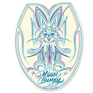 Photo2: MOON Bunny Toilet Lid Sticker