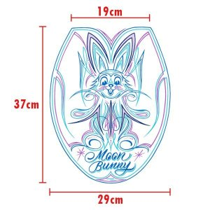 Photo3: MOON Bunny Toilet Lid Sticker