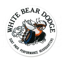 "Hot Rod Sticker ""White Bear Dodge Window"""