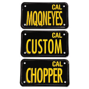 Photo1: California Motorcycle License Plate - Black