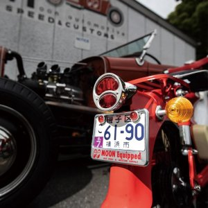 Photo1: 【50cc〜125cc】MOON Equipped License Plate Frame for Small Motorcycle Chrome