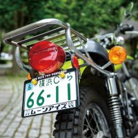 MOONEYES (Katakana) LIFE WITH TWO WHEELERS License Plate Frame for Motorcycle【for 126cc UP】