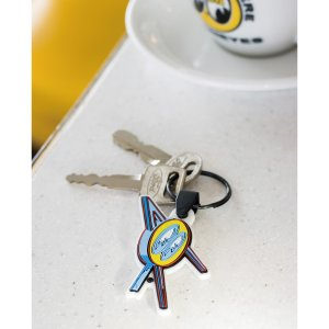 Photo1: MOON Cafe Neon Rubber Key Ring