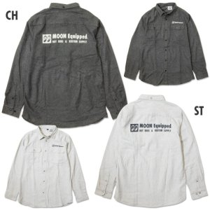 Photo1: MOON Equipped Solid Flannel Shirt