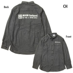 Photo2: MOON Equipped Solid Flannel Shirt