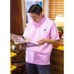 Photo1: MOON Stripe Pull-over Short Sleeve Shirt