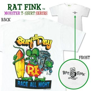 "Photo1: Rat Fink Monster T-Shirt ""Surf all Day"""