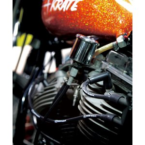 Photo2: MOON Equipped Black Silicon Spark Plug Wire set for H-D