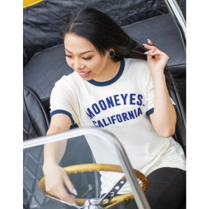 Photo1: Ladies MOON California Trim T-shirt