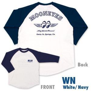 Photo2: FLY with MOON Raglan 3/4 Sleeve T-Shirt