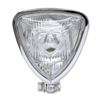 Chrome Triangle Motorcycle Headlight (Flat Back)