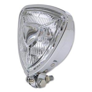 Photo2: Chrome Triangle Motorcycle Headlight (Flat Back)