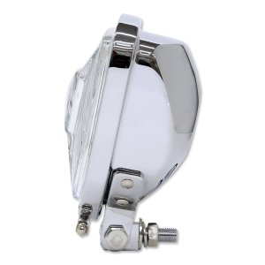 Photo4: Chrome Triangle Motorcycle Headlight (Flat Back)