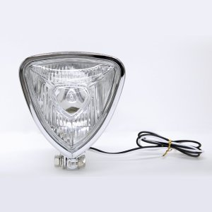 Photo5: Chrome Triangle Motorcycle Headlight (Flat Back)