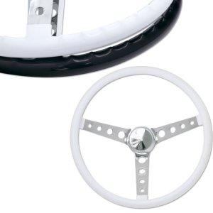 """Photo: MOONEYES ORIGINAL """"Finger Grip"""" Steering Wheel 15"""" White (Vinyl Grip)"""